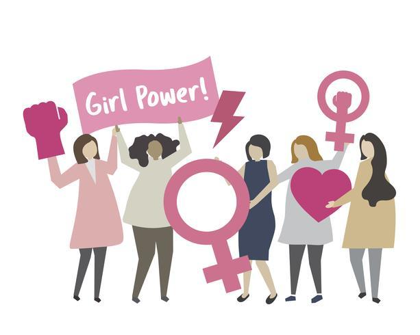 Frau mit feministischer Konzeptillustration