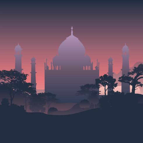Silhueta do vetor do Taj Mahal