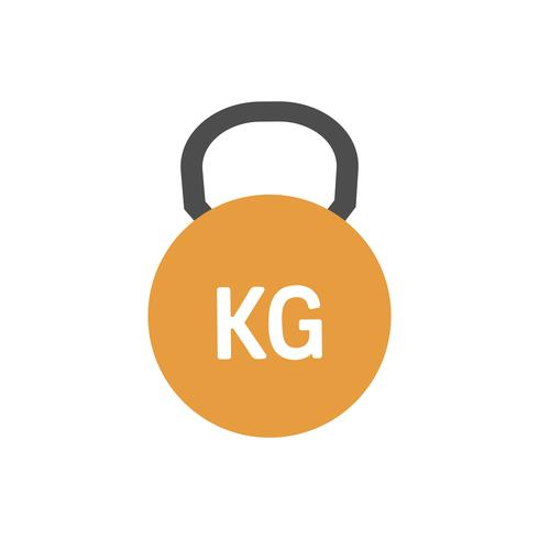 Orange kettlebell icon graphic illustration