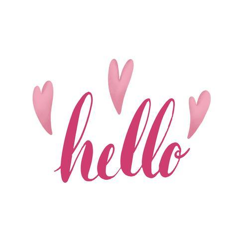 Ordet hej typografi dekorerad med hjärtan vektor