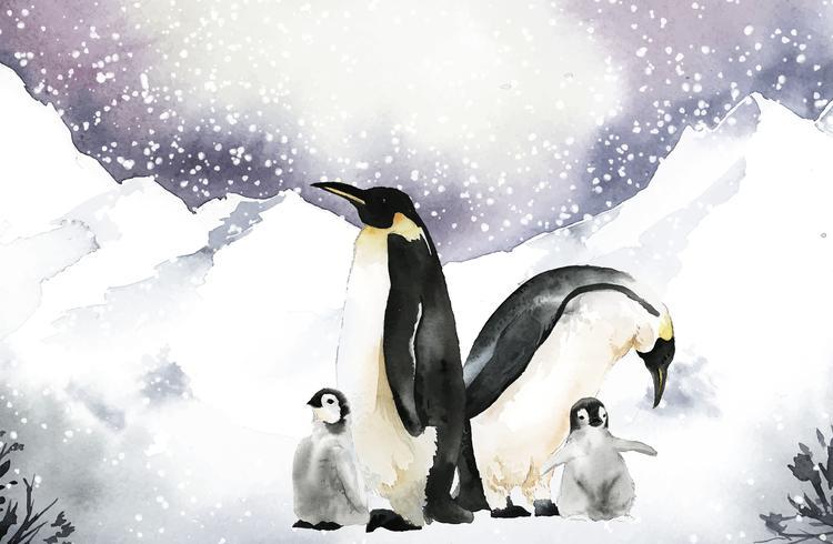 Pingouins dans un vecteur aquarelle de pays des merveilles de l'hiver