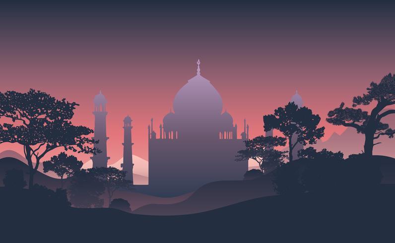 Silhuett av Taj Mahal-vektorn