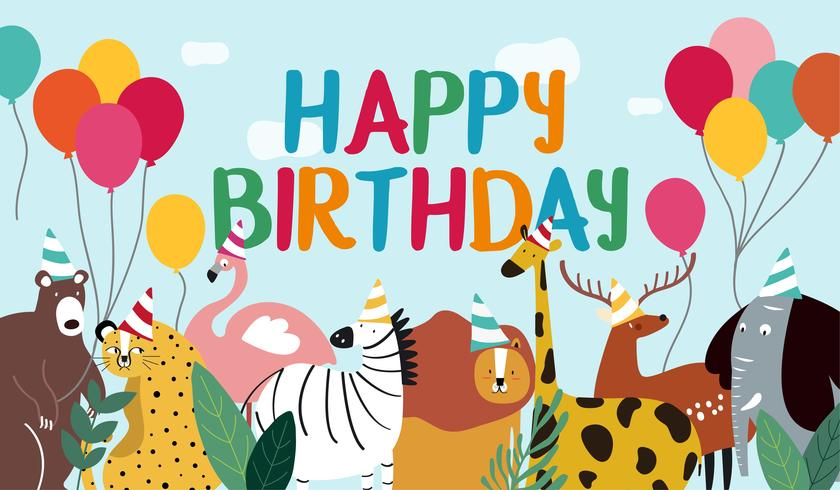 Happy birthday card animal theme vector