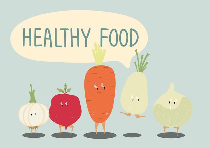 Fresh vegetable cartoon characters set vector