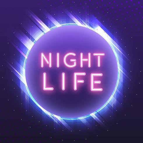Pink nightlife neon sign vector