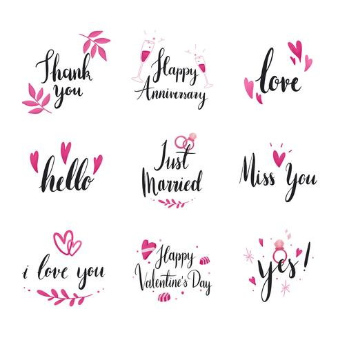 Insieme di vettori di tipografia di matrimonio e amore