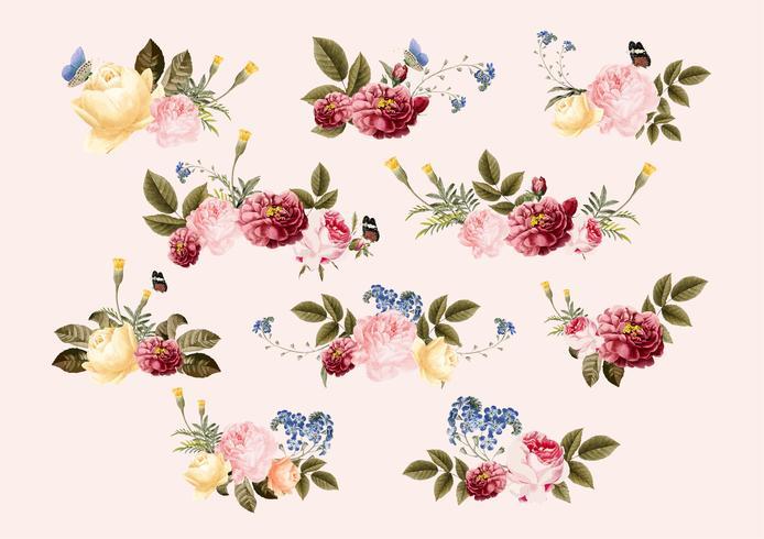 Hand getrokken bloemen kleurrijk bloemenpatroon