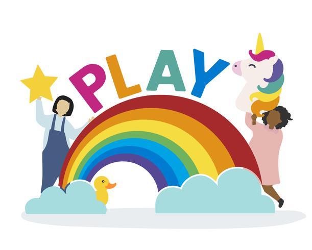 Crianças com imaginação e fantasia