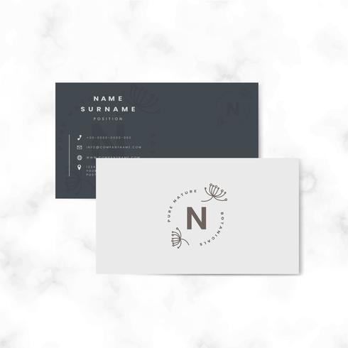 Botanical two sided name card vector