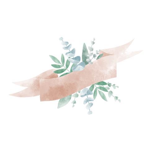 Waterverfbladeren met een bannervector