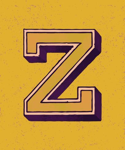 Mayúscula Z tipografía vintage estilo