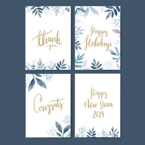 Set of water color cards design vector
