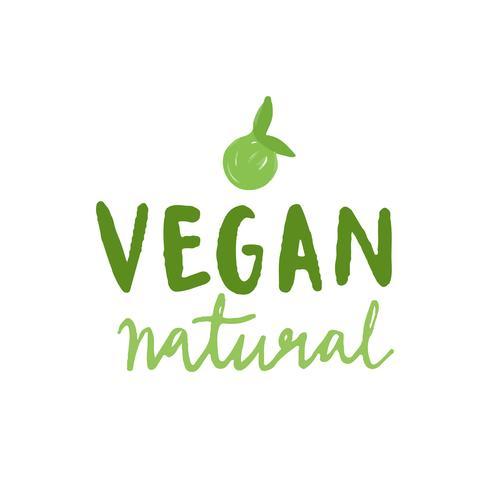 Vecteur typographique naturel végétalien en vert