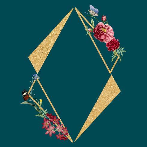 Blank floral frame card illustration vector