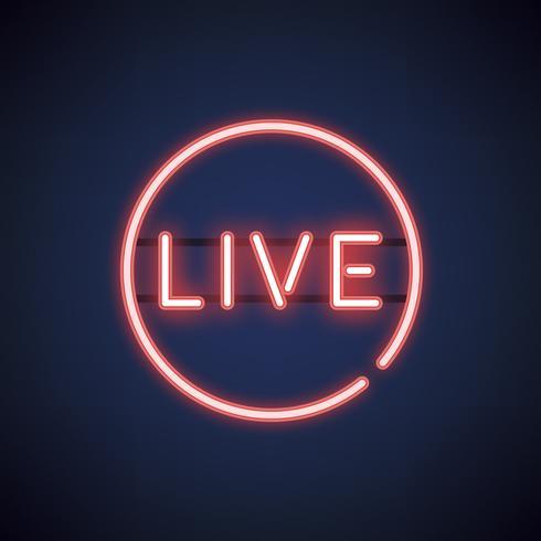 Rode live neon teken vector