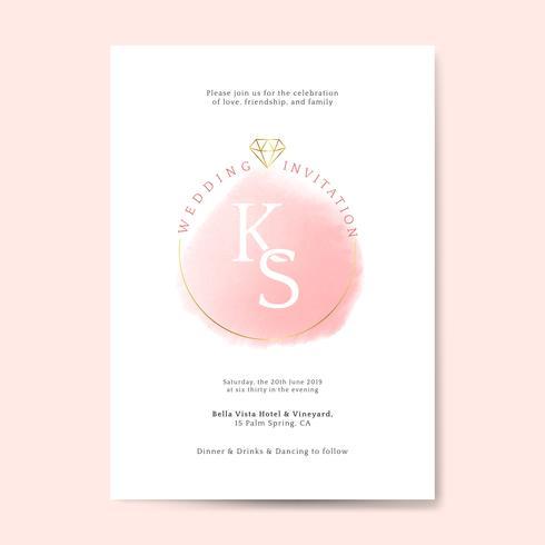 Rosa Hochzeitseinladungskartenvektor