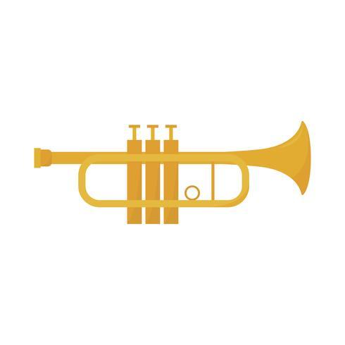 Gouden trompet geïsoleerde grafische illustratie