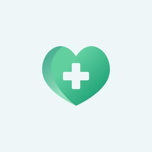 Hjärta med en röd kors symbol vektor