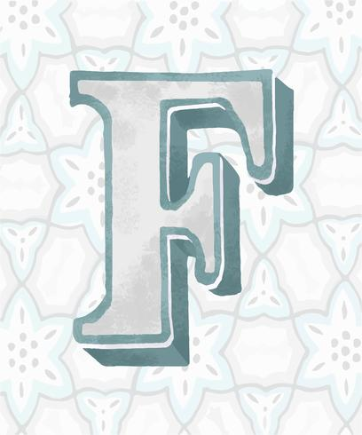 Capital letter F vintage typography style