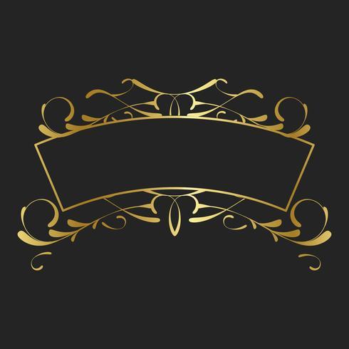 Vintage gouden art nouveau badge vector