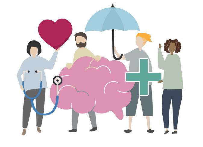 Persone con illustrazione di concetto di salute mentale