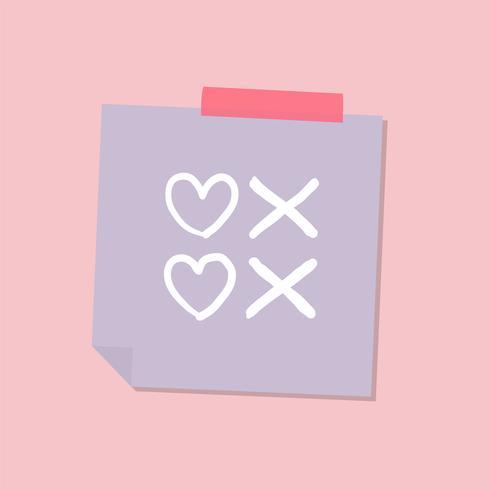 Illustration de la note d'amour mignonne et douce
