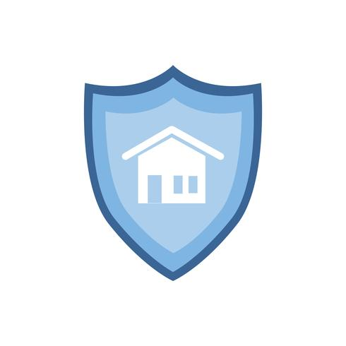 House sign on blue shield graphic illustration