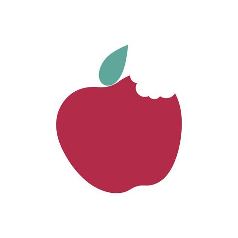 Bitten red apple isolated graphic illustration