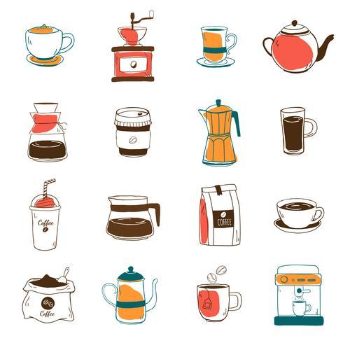 Conjunto de vetor de ícones de café