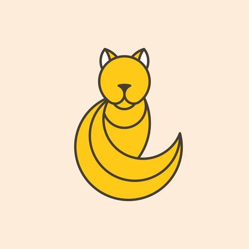 Yellow cat geometrical animal vector