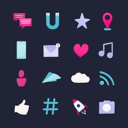 Vektor Social Media-Symbol gesetzt