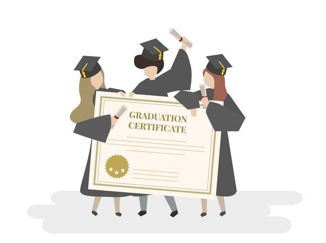 Ilustración del certificado de graduación.