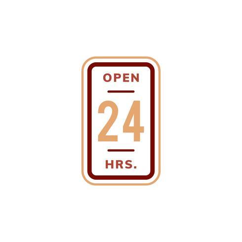 Open 24 uur banner teken illustratie
