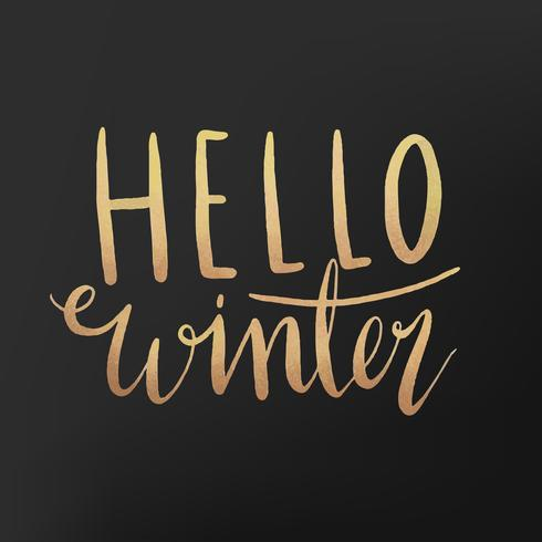 Ciao vettore di tipografia dell'acquerello di inverno