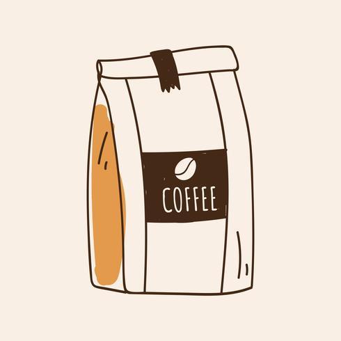 Tasche des Kaffeebohnenikonenvektors