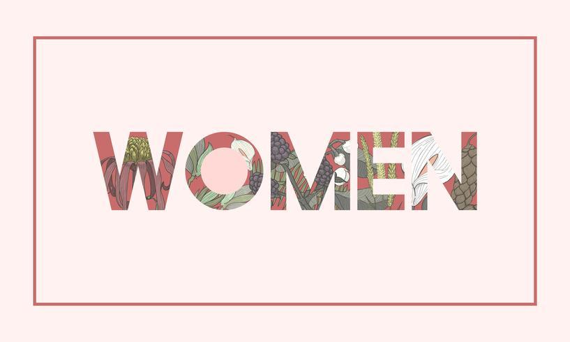 Ilustração, de, mulher, palavra, decorado, com, flores