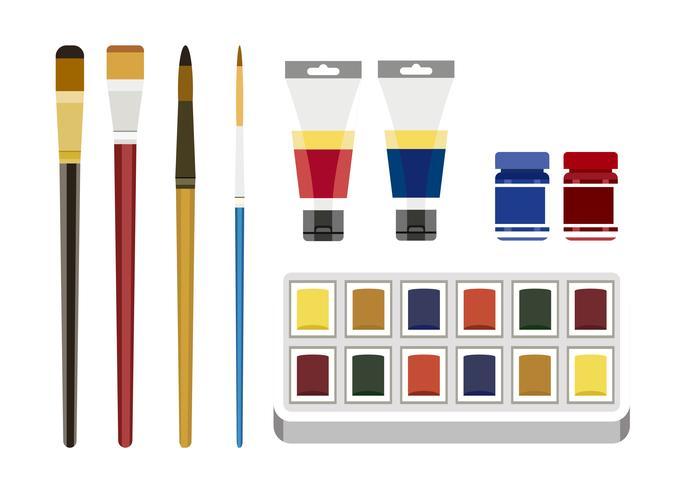 Herramientas coloridas de la pintura aisladas en el fondo blanco