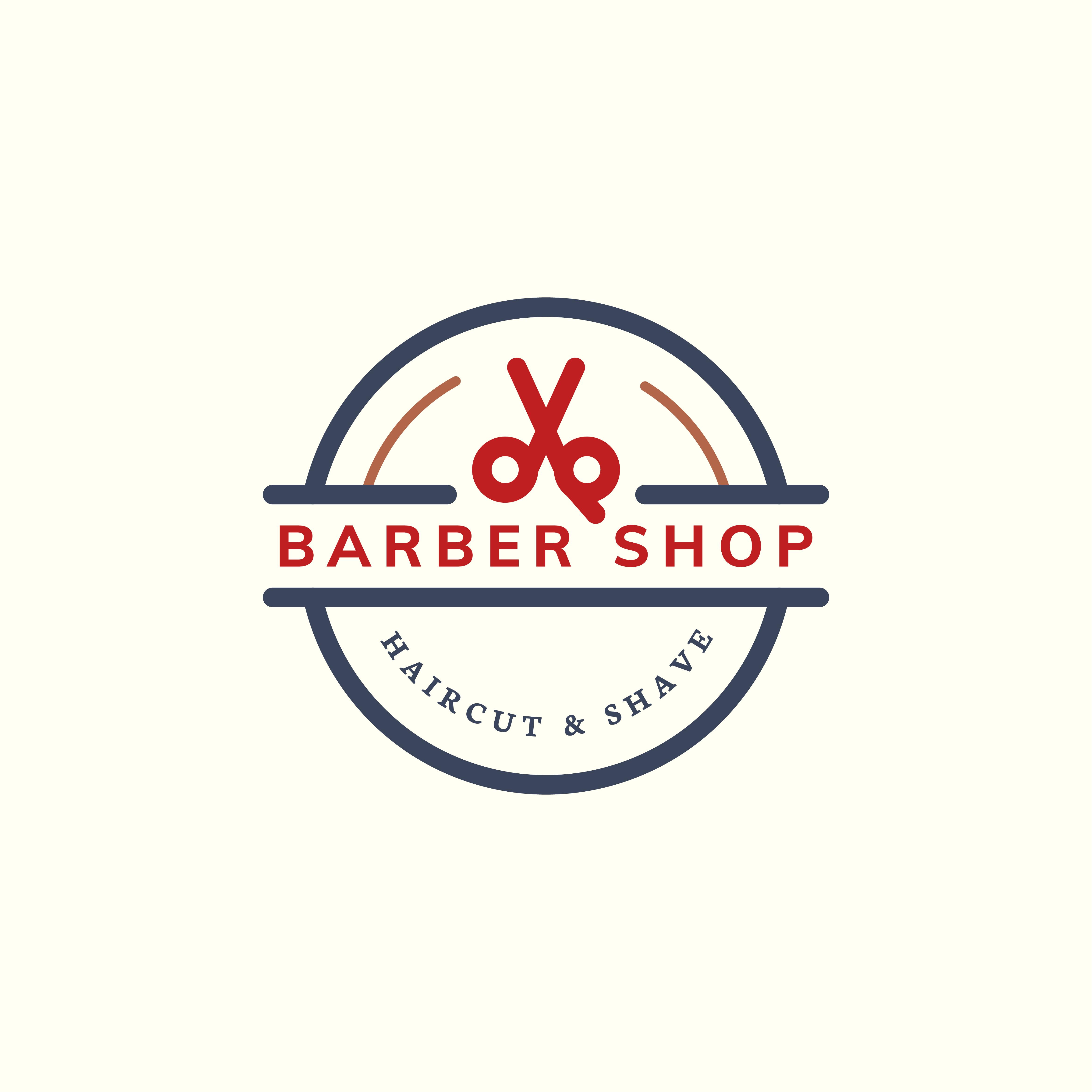 Natural Brand Logo Badge Design: Barber Shop Logo Design Illustration