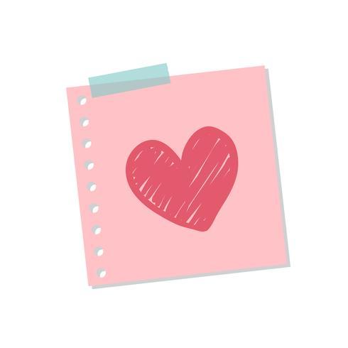 Gullig och söt kärlek notering illustration