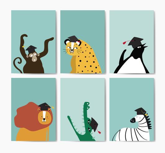 Colección de animales lindos con un gorro de graduación en vector de estilo de dibujos animados