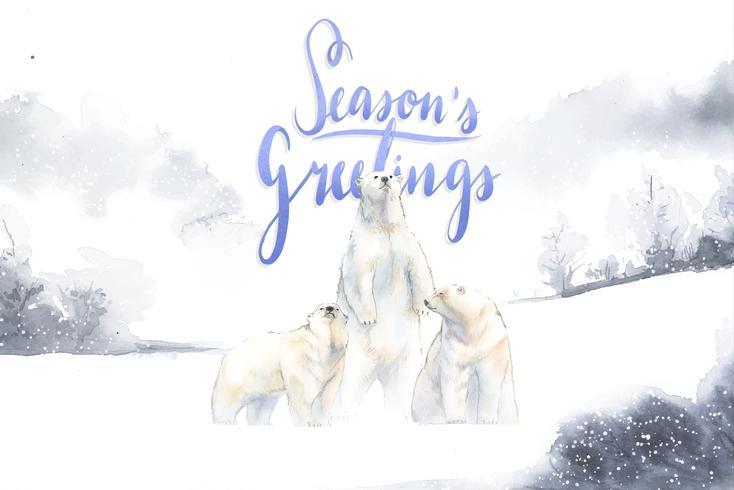 Die Grußkarte der Jahreszeiten mit von Hand gezeichnetem Eisbärvektor