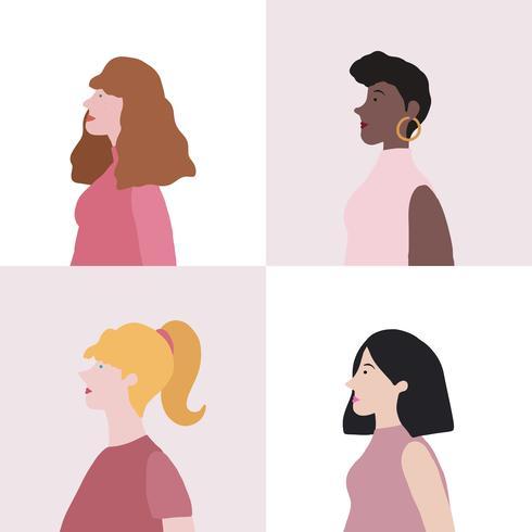 Colección de mujeres en vector de perfil.