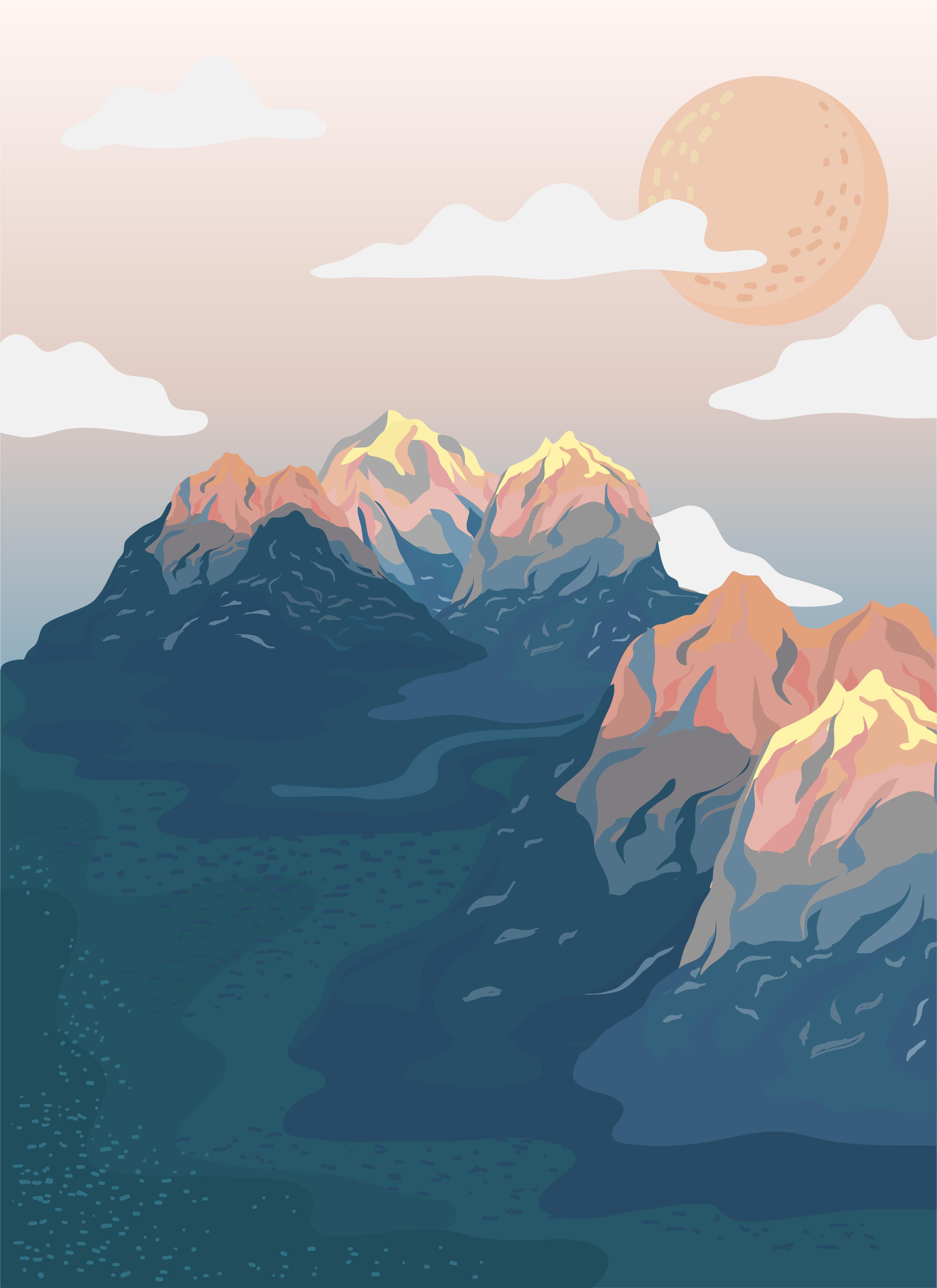 Painted Mountain View Landscape Illustration Download Free Vectors Clipart Graphics Amp Vector Art