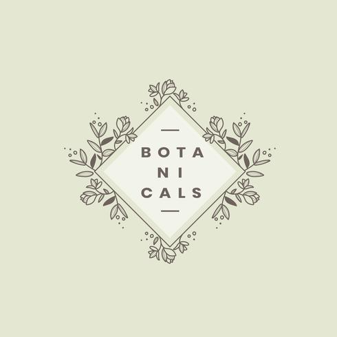 Vettore di progettazione del distintivo di stile botanico