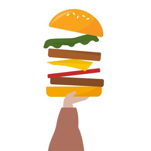 Ilustración de una mano sosteniendo una hamburguesa con queso
