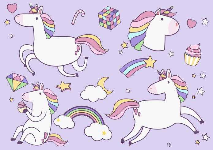 Cute unicorns with magic element stickers vector