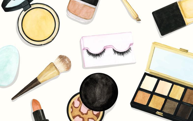 Maquillaje y cosméticos de dibujo.