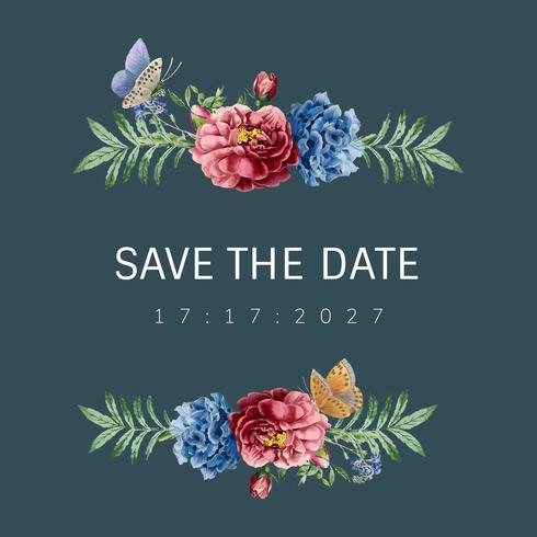 Guardar la fecha invitación de boda floral tarjeta ilustración