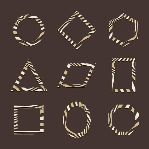 Set of brown abstract badge template vectors