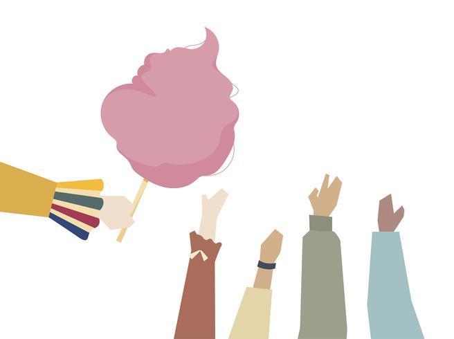 Ilustração de mãos com algodão doce